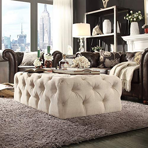 Tribecca Home Knightsbridge Rectangular Linen Tufted Cocktail Ottoman with Casters Beige Beige Finish