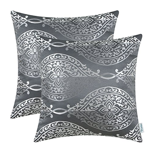 Gray Toss Pillow - CaliTime Pack of 2 Throw Pillow Covers Cases Couch Sofa Home Decoration Vintage Yin Yang Contrast Striped Damask Floral 18 X 18 inches Grey