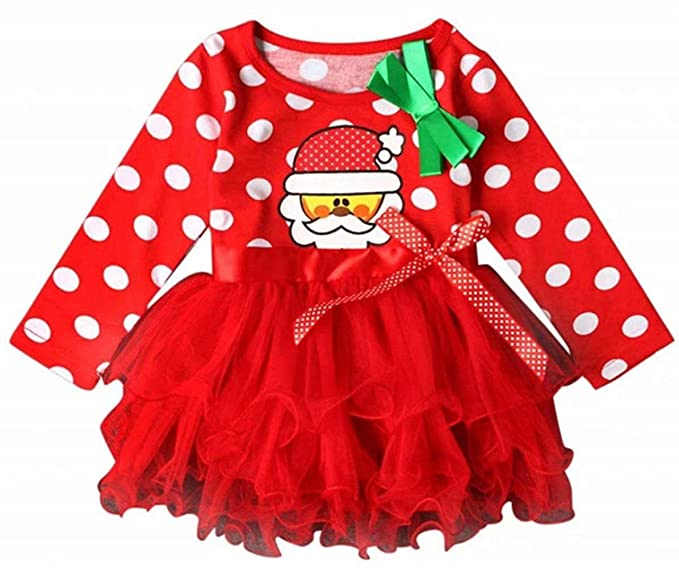 1c7172ce8 New Year Christmas Toddler Baby Girl Outfits Polka Dot Princess Tutu Party Dresses  Clothes Size 12