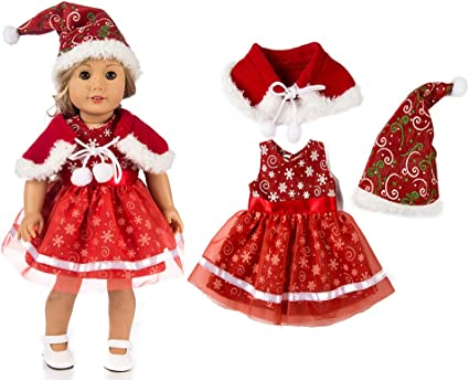 3pcs Adorable Doll Clothes Set For 18/'/' American Dolls Christmas Gifts Red
