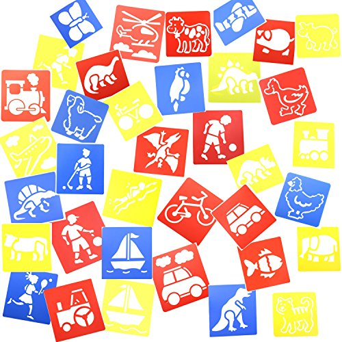 Inxens Plastic Stencils for Kids Craft Drawing Stencils Painting Templates Shapes Set of 36 ()