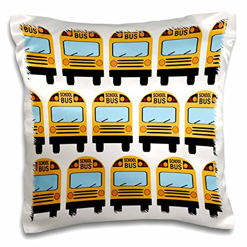 3dRose School Bus-Pillow Case, 16 by 16