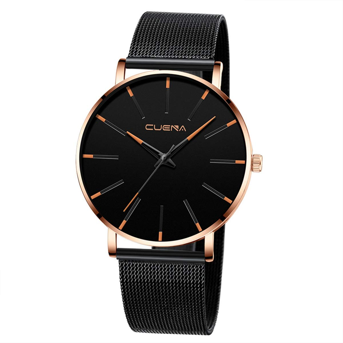 ZODRQ Men's Watch,Fashion Watches Stainless Steel Mesh Wrist Watch Casual Wristwatch Quartz Watch for Men Gift (E) by ZODRQ