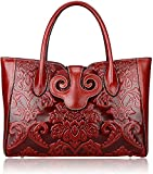Pijushi Floral Handbag Womens Designer Bag Ladies Shoudler Handbags Top Handle 91776(Red)