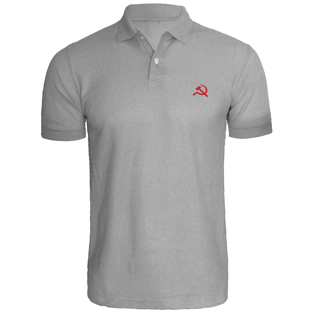 Loo Show Mens CCCP Communist Flag Embroidery Polo Shirts Men Tee