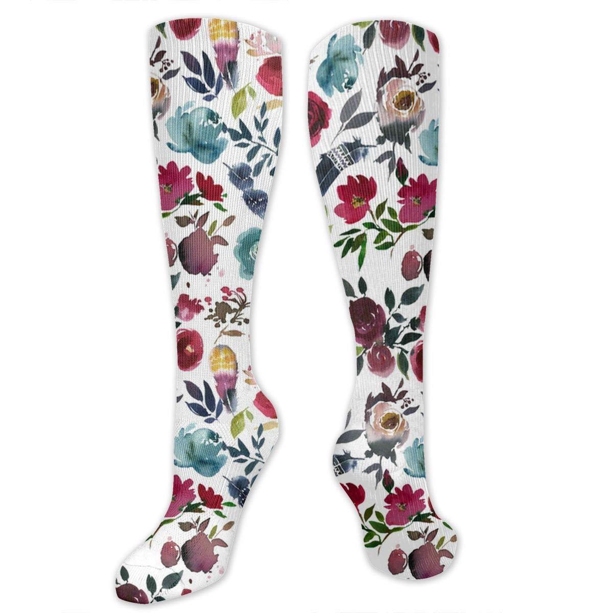 Unisex Rose Florals Pattern Knee High Compression Thigh High Socks Soccer Tube Sock