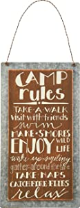 Primitives by Kathy Lake & Cabin Sign, 5.25 x 9.5-Inch, Camp Rules