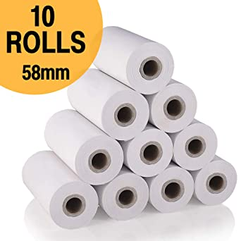 Papel térmico para impresora de 58 mm, 58 mm * 30 mm, 10 rollos ...