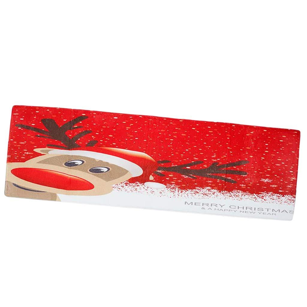 Fityle Non-Slip Christmas Floor Door Mat Shoe Scraper Rectangle Washable Absorbent Runner Rug, Low Profile Doormat 180x60cm - Christmas Deer