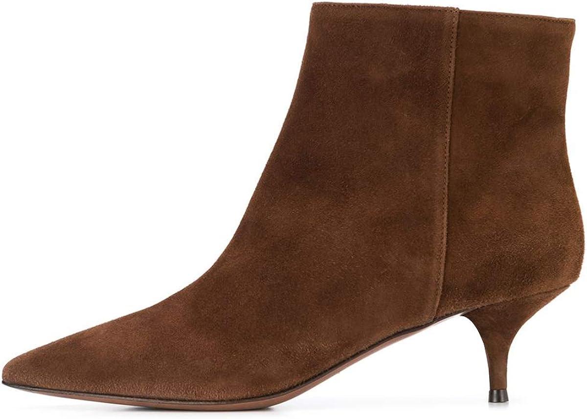 YDN Women Western Low Heels Stiletto Boots Pointy Toe Kitten Ankle Booties for Office