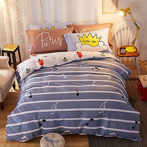 FenDie Striped Pattern Duvet Cover Set - 100% Cotton, Reversible Teen Adults Bedding Set with Zipper/Ties, Musical Notes and Pine Tree Printing, King