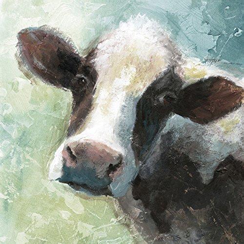 Portfolio Canvas Decor Portfolio Décor Gallery Wrapped Canvas Wall Art, 16x16 Colorful Quirky Cow Soft by Nan, 16 x 16