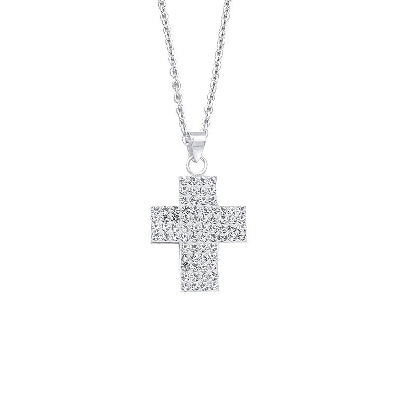DiamondJewelryNY Silver Pendant Ss Crystal Cross Pendant Neck
