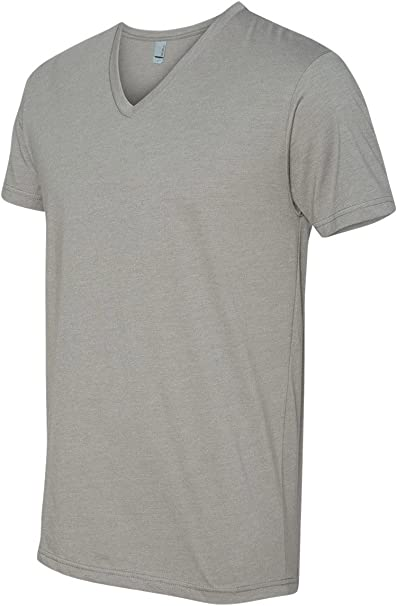 Charcoal 40/% Polyester CVC V-Neck Tee M Next Level Mens 60/% Cotton