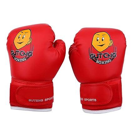 Dilwe 1 Par de Guantes de Boxeo Cuero PU Guantes de Boxeo Junior para Estudiantes Familia 3-10 A/ños