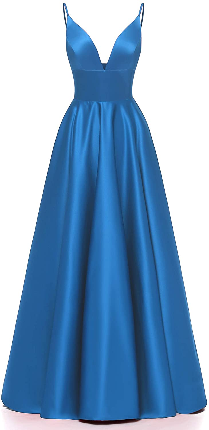 bluee Ri Yun Women's Spaghetti Strap V Neck Prom Dresses Long 2019 Satin Aline Evening Formal Gown with Pockets