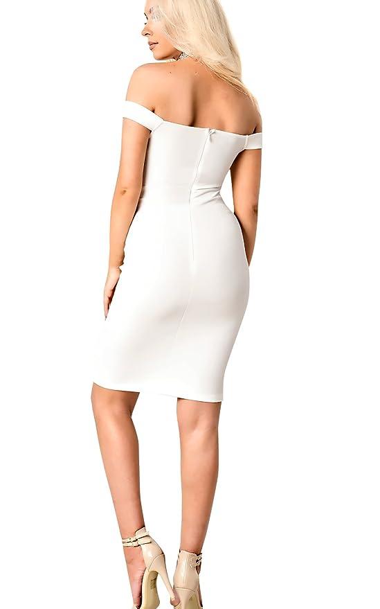 Ikrush Womens Zara Fuera del Hombro Vestido Bodycon in Cream Size 12: Amazon.es: Ropa y accesorios