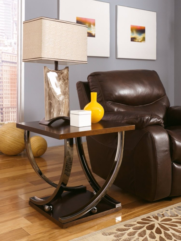 Ashley Furniture Signature Design - Rollins End Table - Contemporary Style Accent Table - Dark Brown With Chrome Base