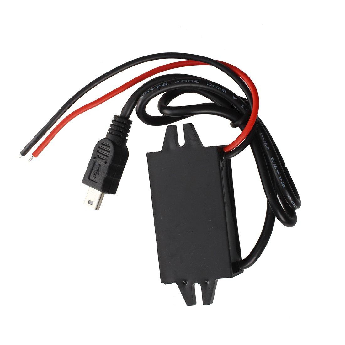 SODIAL R Convertidor Conversor de 12V a 5V 3A DC-DC USB Negro Adaptador Coche