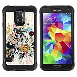 LASTONE PHONE CASE / Suave Silicona Caso Carcasa de Caucho Funda para Samsung Galaxy S5 SM-G900 / Art Leaves Composition Painting