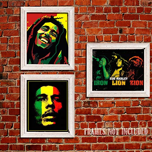 """Bob Marley-Silhouettes Wall Art Set-3 Watercolor Abstract-8 x 10""""s Wall Prints-Ready To Frame-Classic Marley Faces Replica Prints. Home-Bar-Dorm-Man Cave Decor. Includes Iron-Lion-Zion Concert Images."""