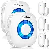PHYSEN Wireless Door Chime Window Alarm CW-3TW Door Alarm Sensor Door Alert Kit with 600 FT Range, 5 Volume Levels with Mute
