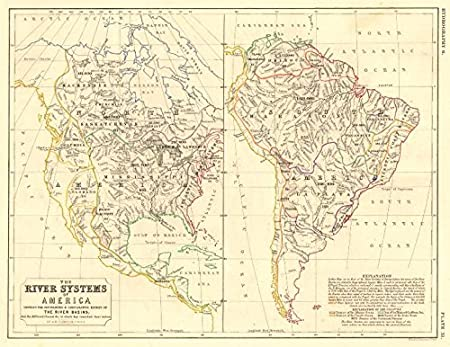 AMERICAS:North & South America river systems. Drainage divides ...