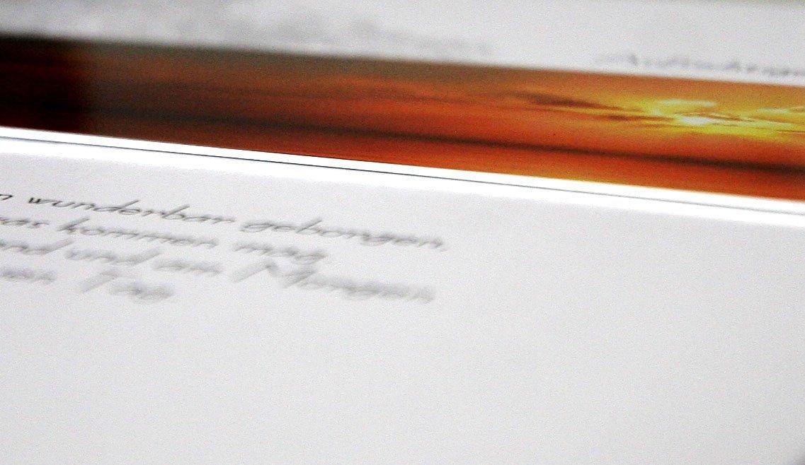 Beileidskarte IM GEBETBaum im SonnenuntergangmetALUm #00056