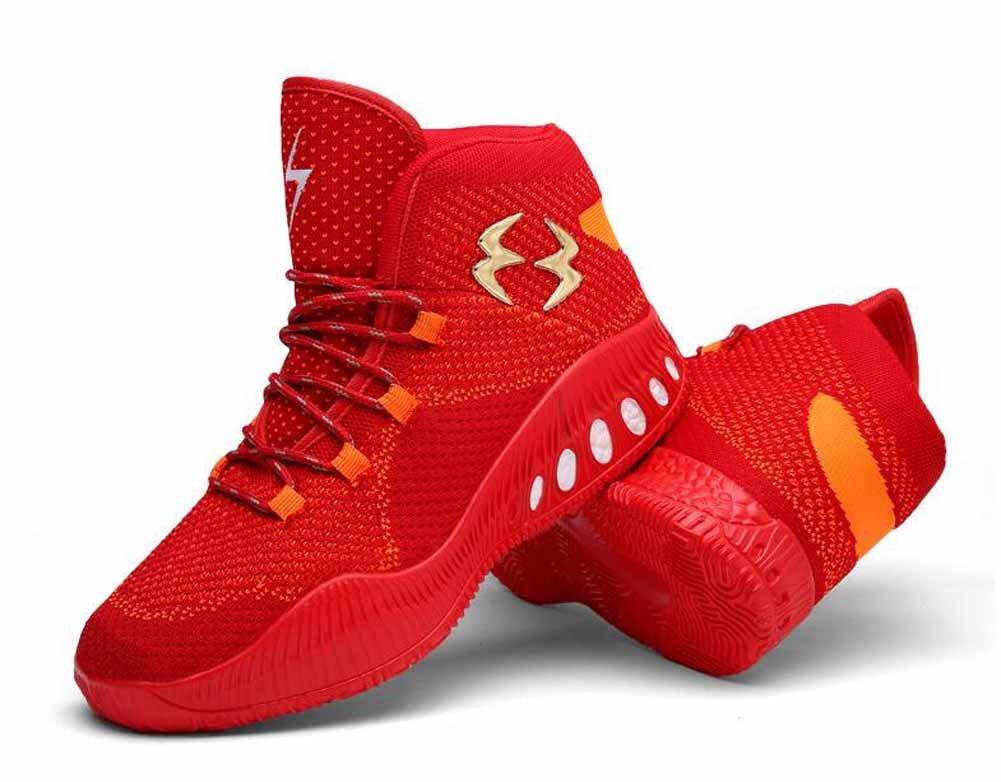 Hombres Encaje Zapatillas de baloncesto Otoño Invierno Juventud Entrenadores Al aire libre Respirable Zapatos atléticos ( Color : Red , Size : 42 ) 42 Red