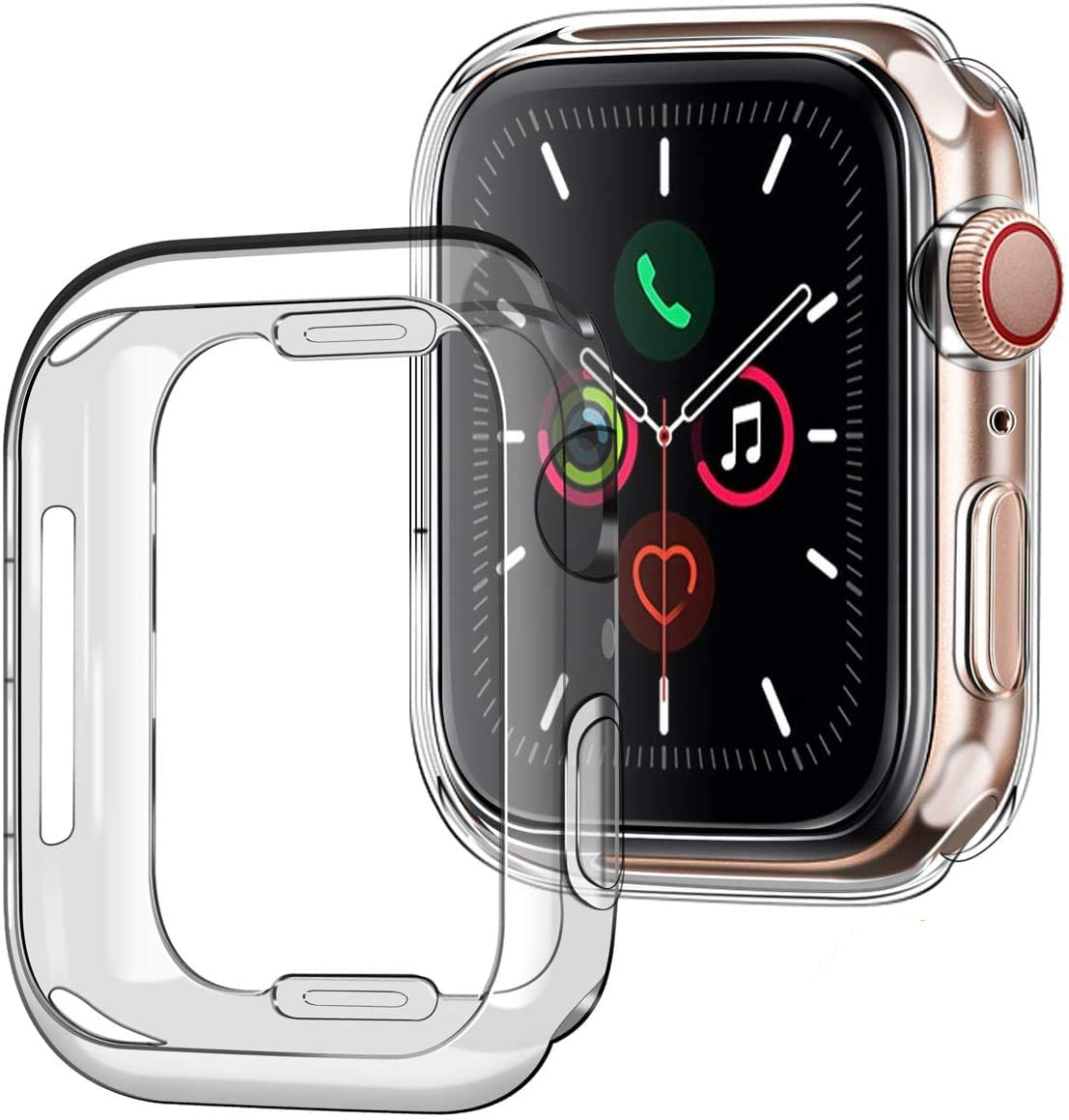 [2Pack] Tensea Case for Apple Watch 44mm Series 4 5 6 SE (2 Packs) Soft TPU Shock Absorption Bumper Clear Protective Cover Compatible for iWatch Series 6 5 4 SE (Clear)