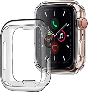 [2Pack] Tensea Case for Apple Watch 40mm Series 4 5 6 SE, (2 Packs) Soft TPU Shock Absorption Bumper Clear Protective Cover Compatible for iWatch Series SE 6 5 4, (Clear)
