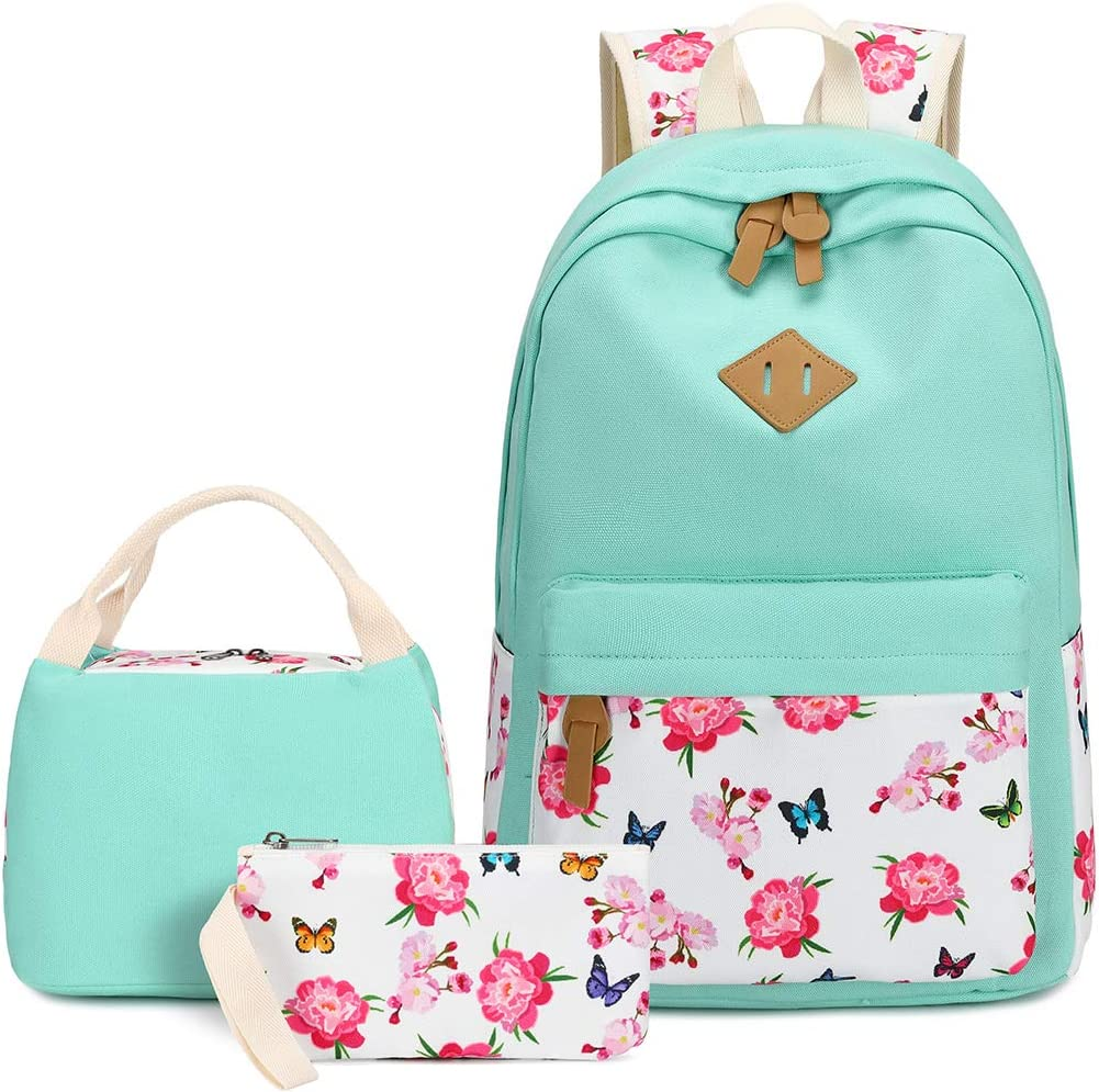 BLUBOON School Backpack Set Canvas Teen Girls Bookbags 15 inches Laptop Backpack Kids Lunch Tote Bag Clutch Purse (Mint Green-0115)