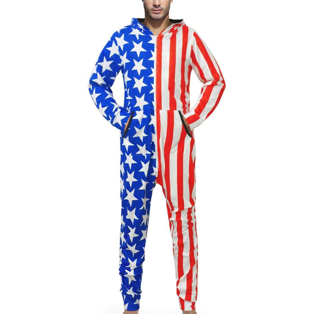 iLXHD Mens Family 3D Printed Hooded Jumpsuit Adult Sleepwear Nightwear Romper
