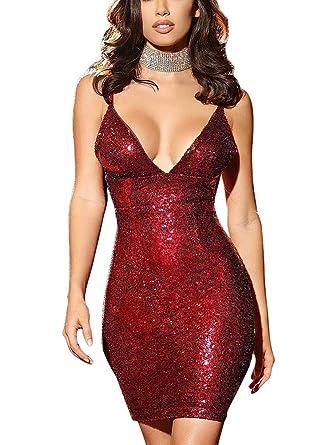 bec7ff44 Red Bodycon Dresses for Women Sequin Glitter Spaghetti Strap Deep V Neck Bodycon  Short Mini Dress