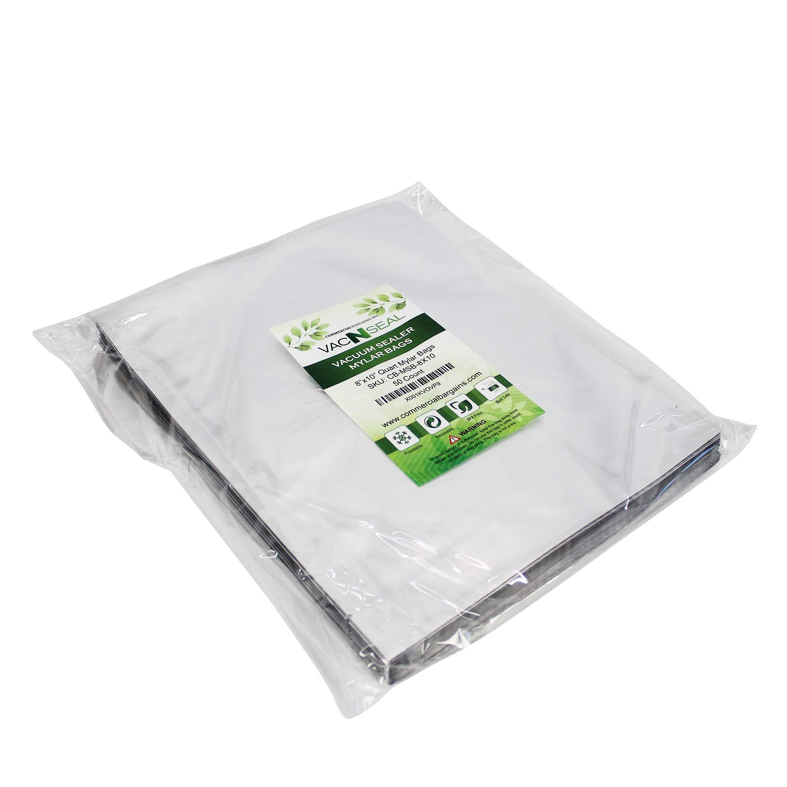 (200) 8''x10'' Quart Food Storage Mylar Bags And (200) 100CC Oxygen Absorbers by Commercial Bargains