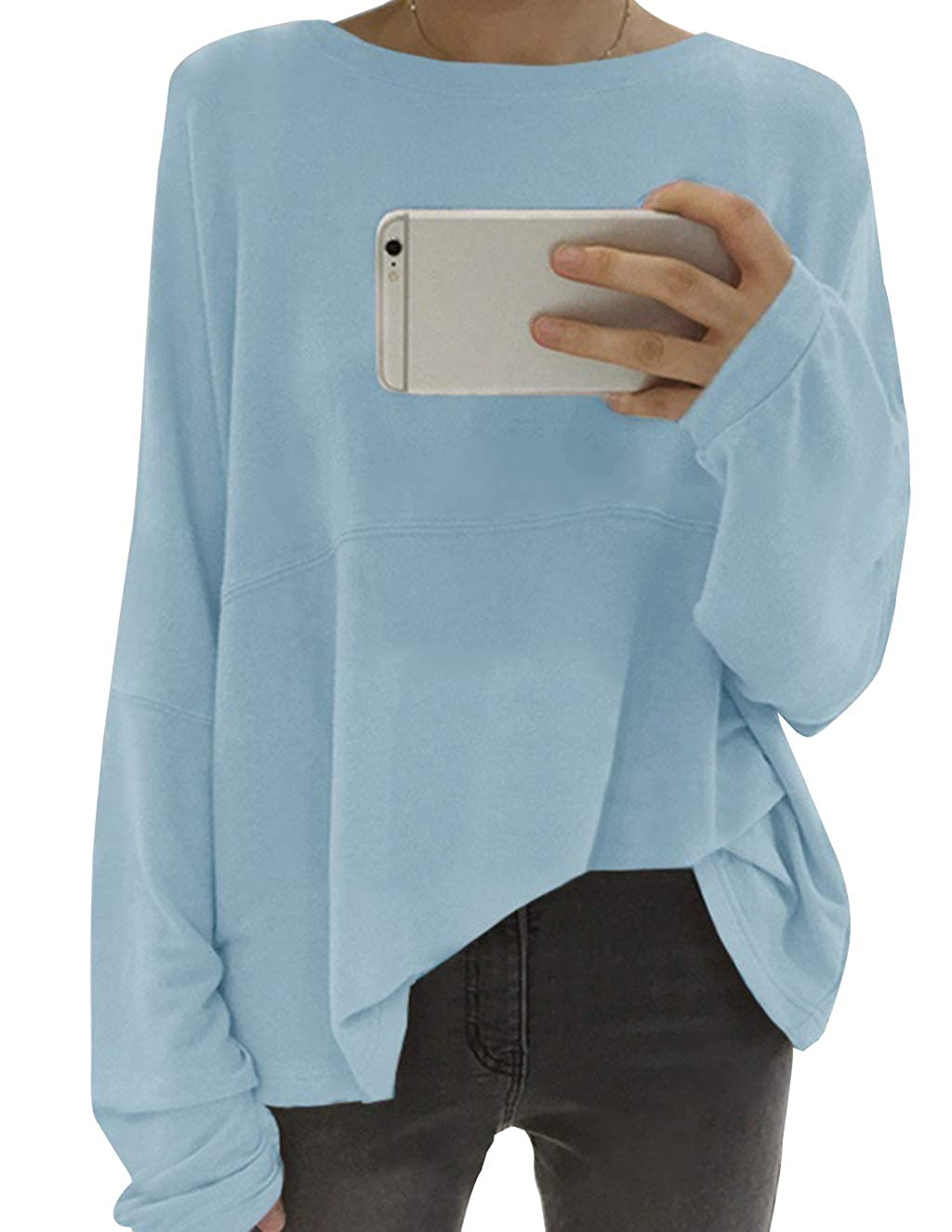 Sale Clearance Womens Loose Oversized Long Sleeve T-Shirt Ladies Plus Size Tunic Tops Casual Baggy Solid Color Blouse Jumpers Top Plain Basic Shirt Sweatshirt Sweater Pullover
