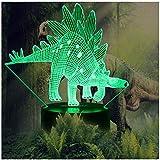 Night Lights for Kids Dinosaur 3D Illusion Lamp Birthday Gift for Boys Animal Light Led Desk Lamp Unique Home Decor Office Bedroom Party Supply Decoration Nursery 7 Color Children Stegosaurus Children