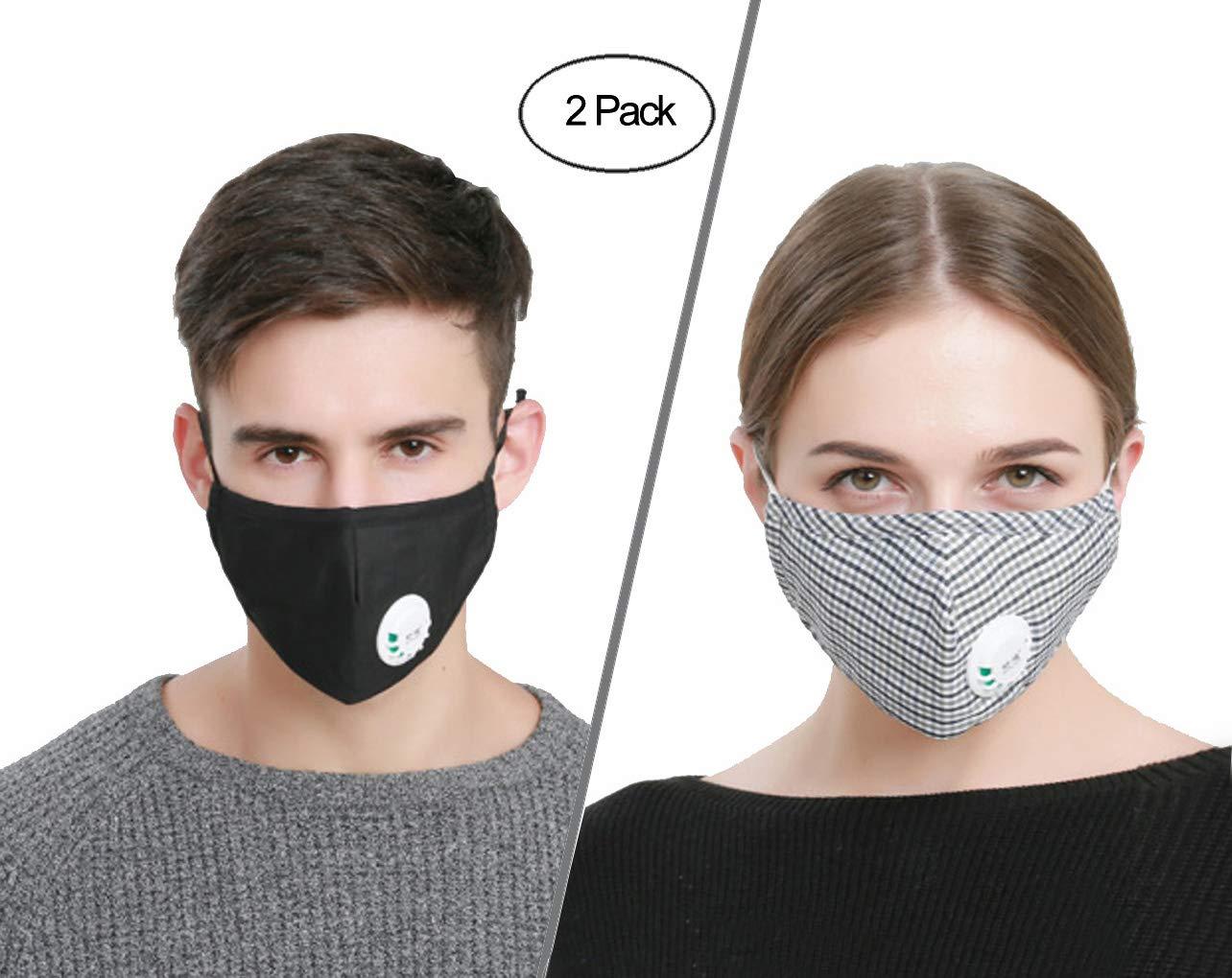 ACCOCO - Máscara anticontaminación con correas ajustables, antipolvo reutilizable, antiácaros, antibacteriano y con filtro de carbón activado (2 máscaras + 4 filtros)