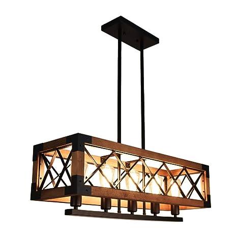 Lingkai Industrial Iluminación de techo vintage Iluminación colgante Retro Lámpara de madera Acabado en negro Rústico Lámpara de techo industrial ...