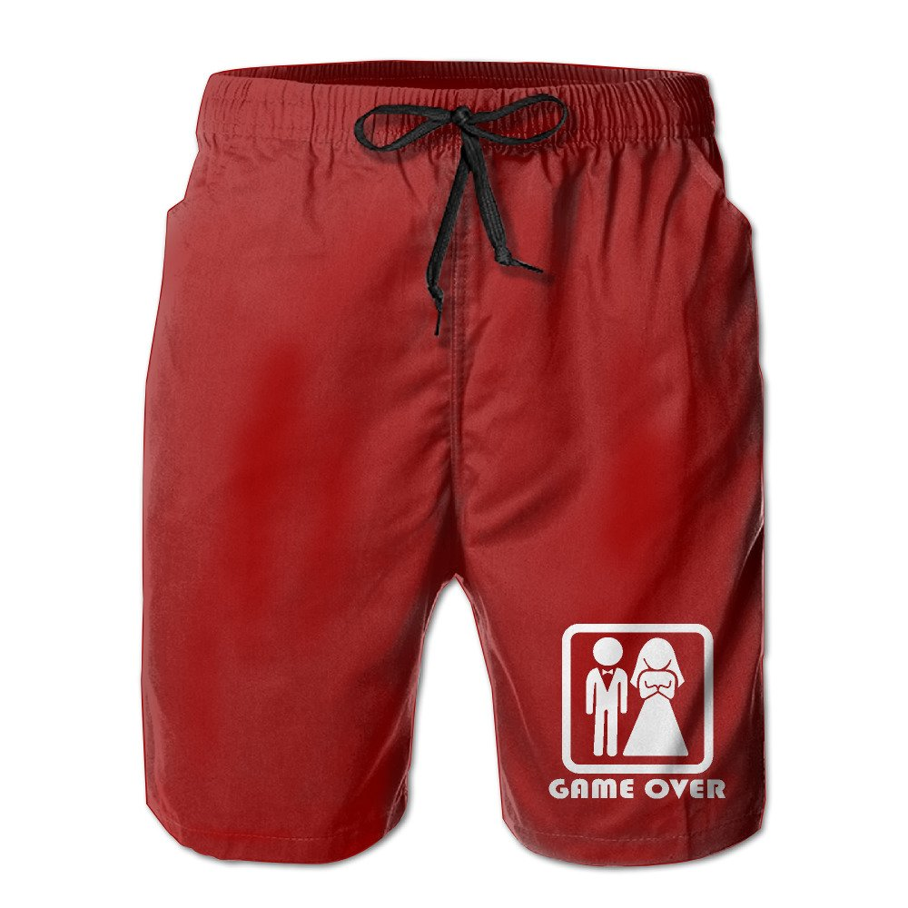 Game Over Mens Polyester Beach Shorts Quick Dry