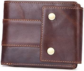 Mens Brown Leather Trifold Wallet - Front Pocket Wallet Money Clip Leather - 14 Card Coin Purse - Leather Wallets for Men Personalized - Money Clip Wallets for Men with ID Window