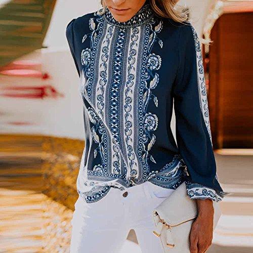 Clearance Shobdw Fashion Donna Blu Sales Camicetta Chiffon Formale Ufficio lunga Stand Top Inverno Camicia Retro Colletto Donna Manica Stampa Autunno rqqE5x1w