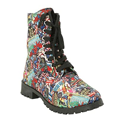 Amazon.com | Marvel Comic Womens Print Combat Boot | Mid-Calf