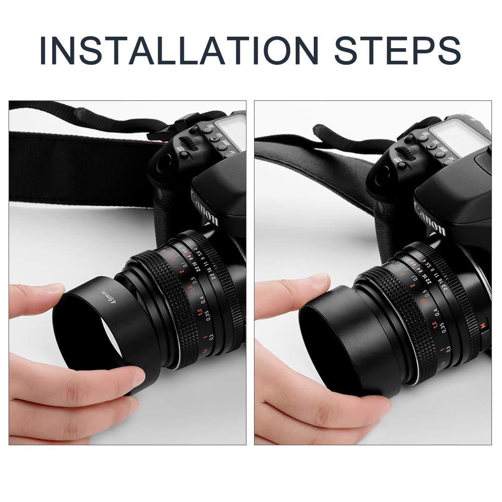 Fotover Pare-Soleil m/étallique /à Visser pour Appareil Photo Canon Nikon Sony Pentax Olympus Fuji Sumsung Leica