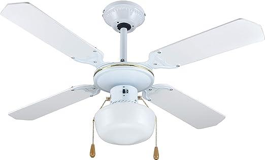 Zephir ZFS9107B Ventilateur décoratif de plafond E27, 60 W BlancOr