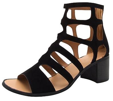 486359cf262 Cambridge Select Women s Open Toe Geometric Cutout Caged Gladiator Chunky  Block Heel Ankle Bootie (6.5