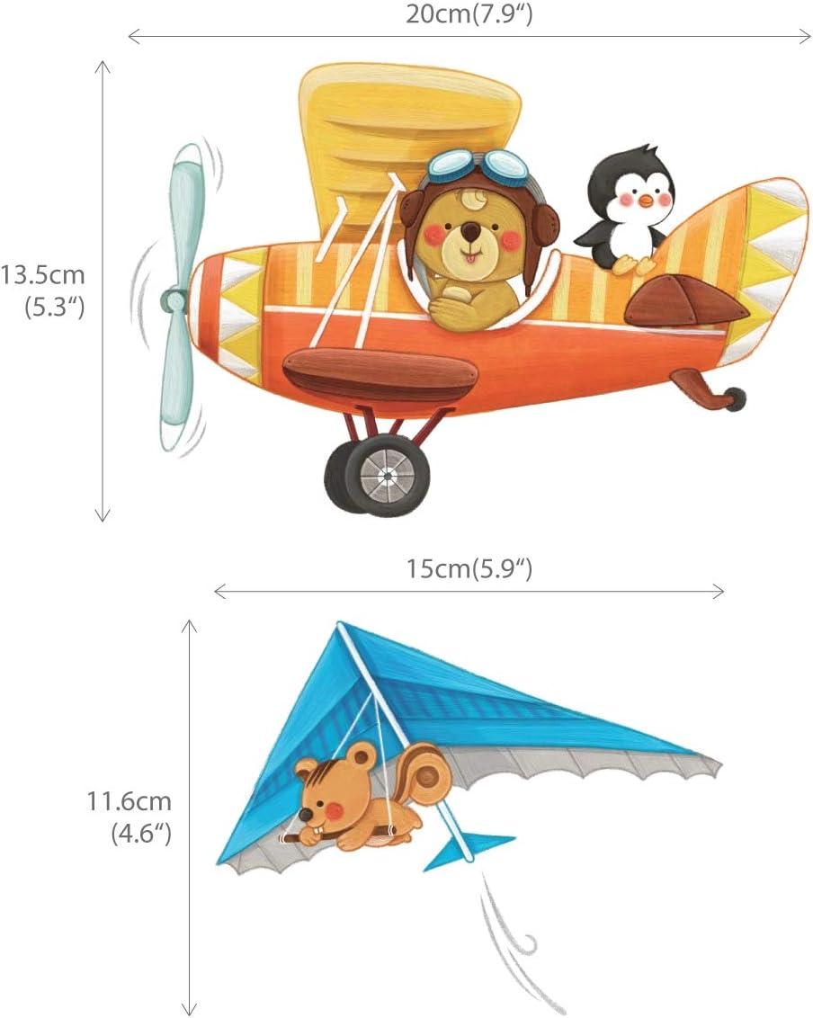 Peque/ña DECOWALL DS-8026 Biplanos de Animales con Ala Delta Vinilo Pegatinas Decorativas Adhesiva Pared Dormitorio Sal/ón Guarder/ía Habitaci/ón Infantiles Ni/ños Beb/és