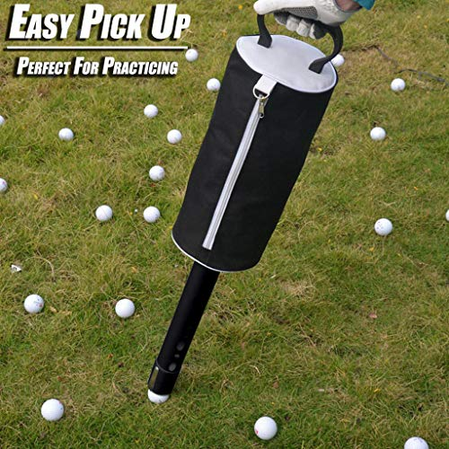 YunZyun Golf Shag Bag Portable Golf Ball Shag Bag Pick Up Receiver Tube Collector Practice Ball Bag,Do Not Need to Bend Over to Pick Up The Ball Any More, Let You Enjoy The Golf Easily (Black)