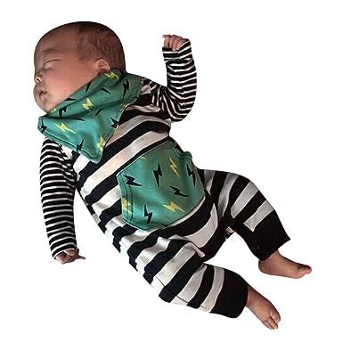 YanHoo Ropa Recién Nacidos Traje de otoño e Invierno Raya bebé Rayo Impreso Encaje Bebé recién