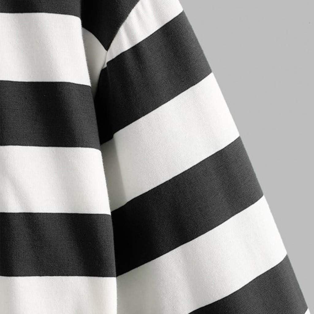 Moudozsdi Womens Color Block Stripe Button Long Sleeve Pullover Sweatshirt Tops Blouse
